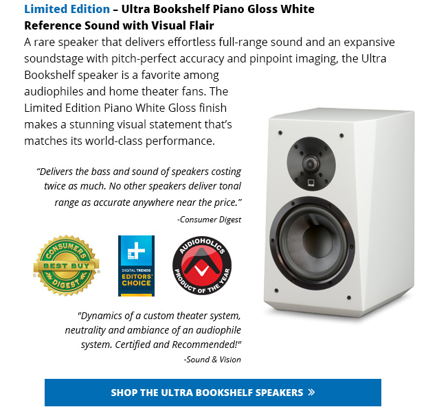 The Limited Edition SB 2000 Subwoofer And Ultra Bookshelf Speakers Join Other Award Winning SVS Products Available In Piano White Gloss So You Can Build A